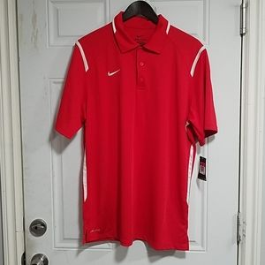 Men's red Nike Dri-Fit polo